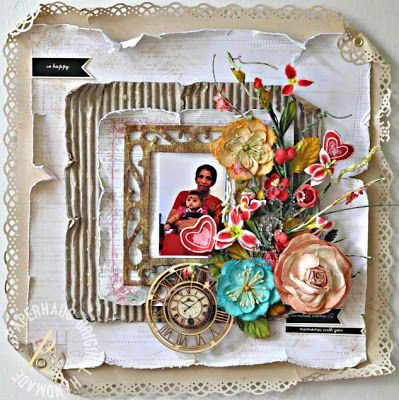 A layout of my mum & aneeka using Martha Stewart punches, Prima Flowers and chipboard. The titles were cut out from Prima packaging