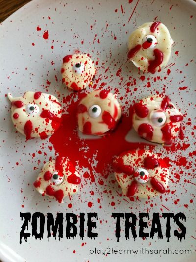 kids in the kitchen zombie treats - Gory Halloween Food Ideas
