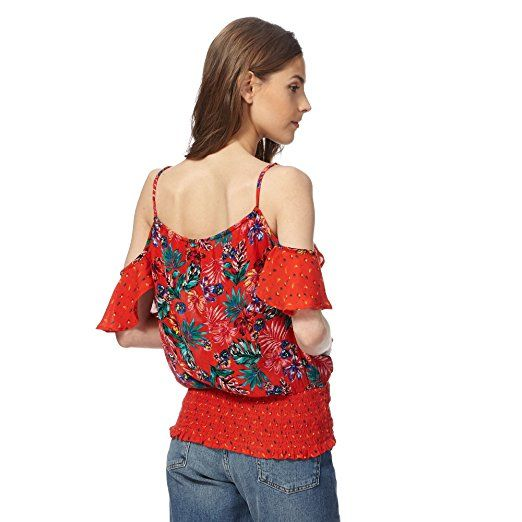 Red Herring Womens Red Tropical Print Cold Shoulder Top: Red Herring: Amazon.co.uk: Clothing
