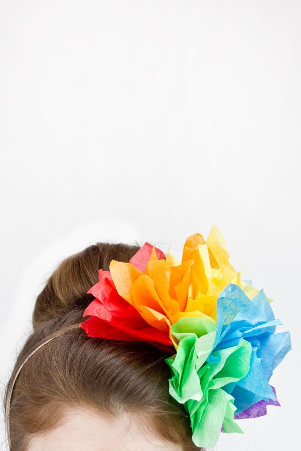 DIY Rainbow Fascinator made of tissue paper...cute alternative to a party hat