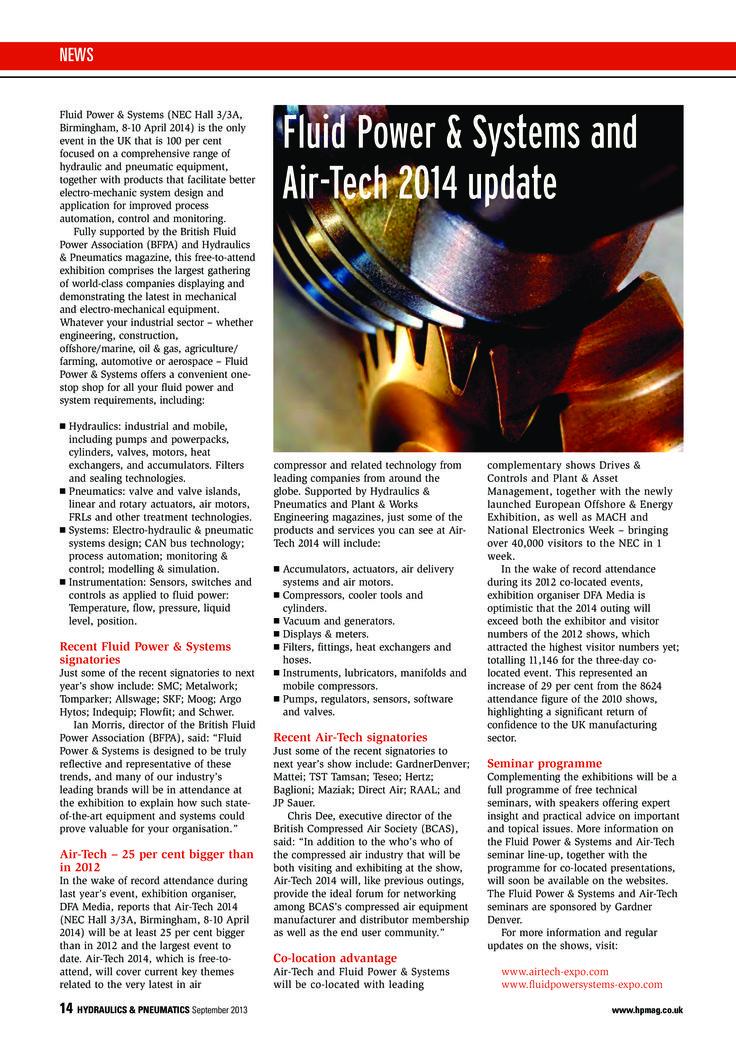 Fluid Power & Systems + Air-Tech April 8-10 2014 Exhibition Review