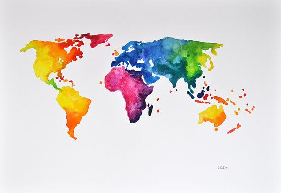 ORIGINAL Abstract world map watercolor painting, colorful world map 14x20 Inch, Decorative Art