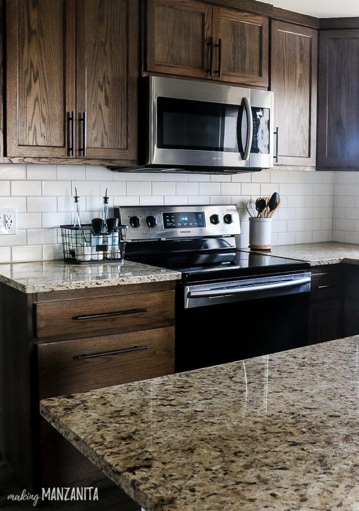 How To Install Subway Tile Backsplash With Video Making Manzanita Farmhouse Kitchen Backsplash Backsplash Kitchen Dark Cabinets Kitchen Renovation