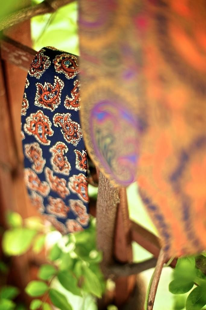 This Blue/Orange Paisley print on silk will match with almost any colour.