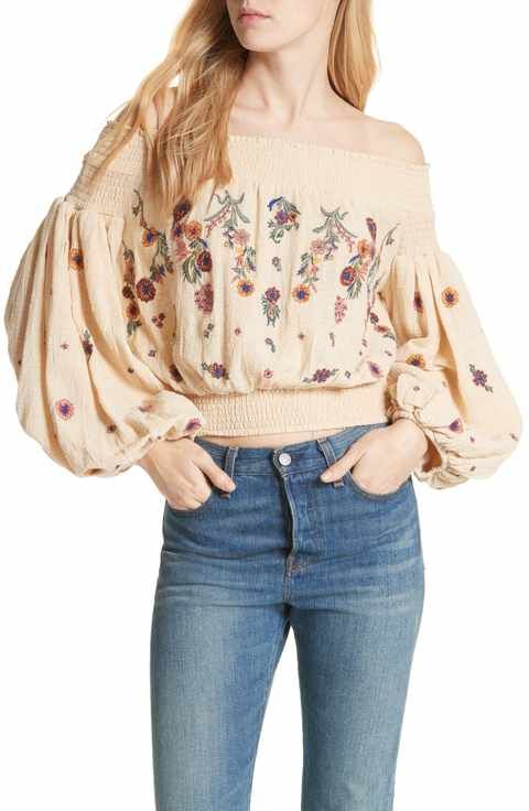 29a37ccfe50556 Free People Saachi Smocked Off the Shoulder Top