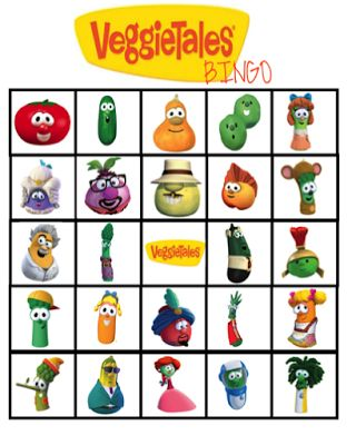 FREE Veggie Tales Bingo Birthday Party cupcake toppers, banner, and water bottle label Printables