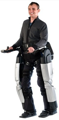 Rex, the Robotic Exoskeleton: The product of 7 years of development work in New Zealand, the Rex exoskeleton is capable of supporting the full weight of a person -- making it suitable for paraplegics -- & moving him or her around in a familiar bipedal fashion. It's operated using a joystick & control pad & is simple enough for handicapped users to self-transfer in & out of. Will these make wheelchairs obsolete?