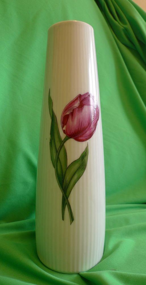 Vintage Retro Germany SELTMANN WEIDEN Bavaria MONIKA white ivory VASE w. tulip #SeltmannWeiden