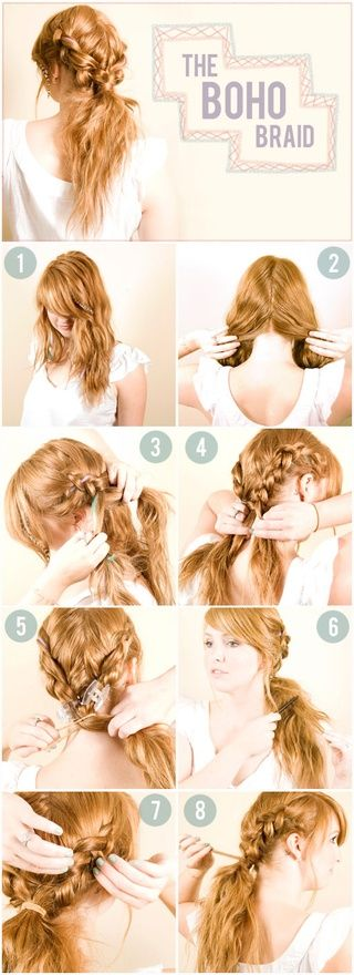 Separate hair on left  right sides. Reverse French braid hair: alternate crossing 2 outer section of hair under middle section instead of over. Gather hair in low pony  tease 1 sections near top of pony. Lightly pull loops of braids apart w/fingers. Finish by wraping section of hair around hair tie  secure w/ bobby pins.