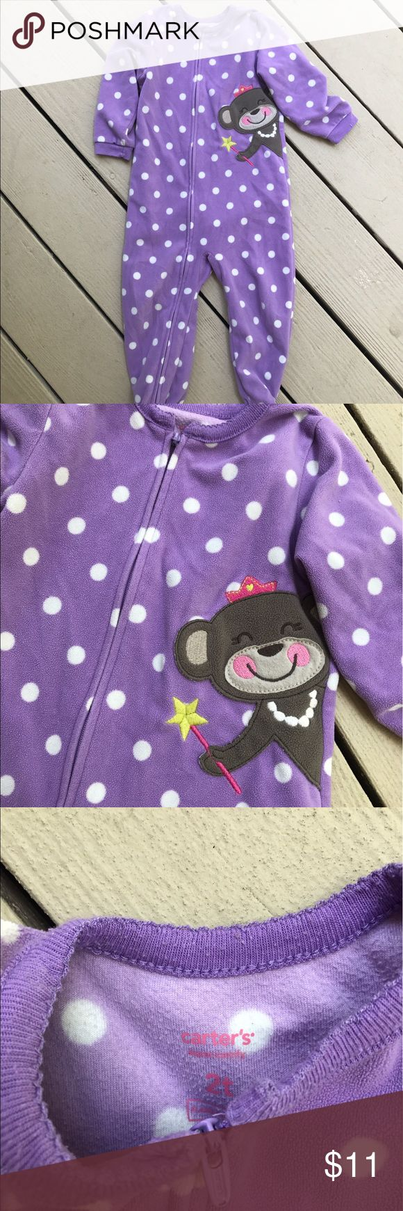 Carter's Purple Polka Dot Pajamas Darling! Your little one will love these Pajamas. Easy to zip up front and footies at the bottom. Good condition. Bundle with my other kids items and save with bundle discount 💰💰 Carter's Pajamas