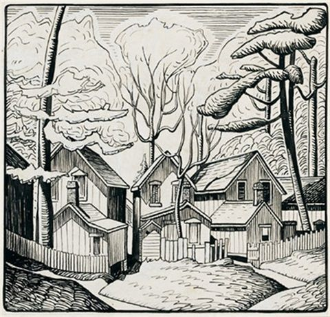 Summer houses, Grimsby Park, Ontario by Lawren Stewart Harris