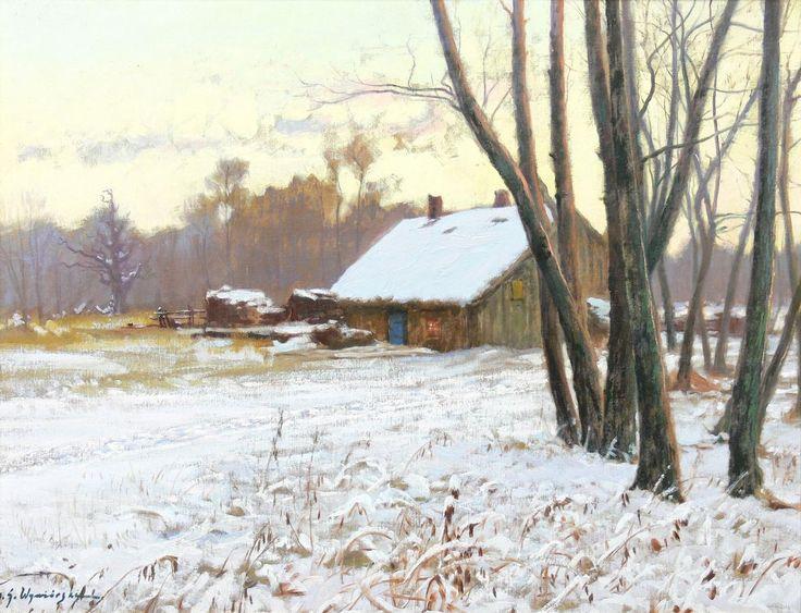 Michał Gorstkin Wywiórski: Zimowy pejzaż z chatą