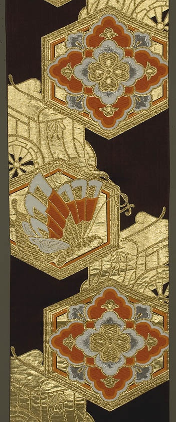 """Japanese Obi  12""""x 157""""  Decorated section: 99""""  Dark brown silk ground, brocaded with gold, silk and silver medallions and carts"""