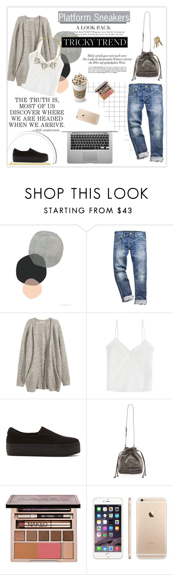 """""""Tricky Trend: Platform Sneakers"""" by leniastuti ❤ liked on Polyvore featuring H&M, The Kooples, Opening Ceremony, Rachel Zoe, Urban Decay, Lipsy and platformsneakers"""