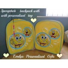 Lovely and Personalised Spongebob backpack £9.00 plus p+p - with personalised tag