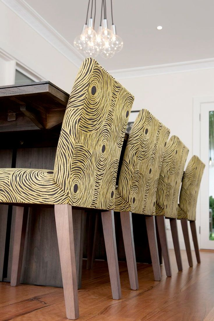 Emme Designs custom upholstered dining chair.