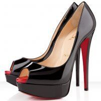 Christian Louboutin Lady Peep 150mm Patent Leather Pumps Black/Red