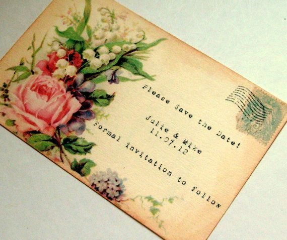 Victorian save the date postcard wedding rustic by 0namesleft, $30.00