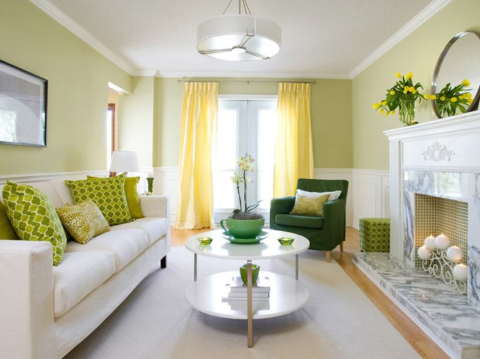 Brandon Barre Photography - living rooms - yellow and green living room, yellow curtains, yellow drapes, green chair, white sofa, green pill...