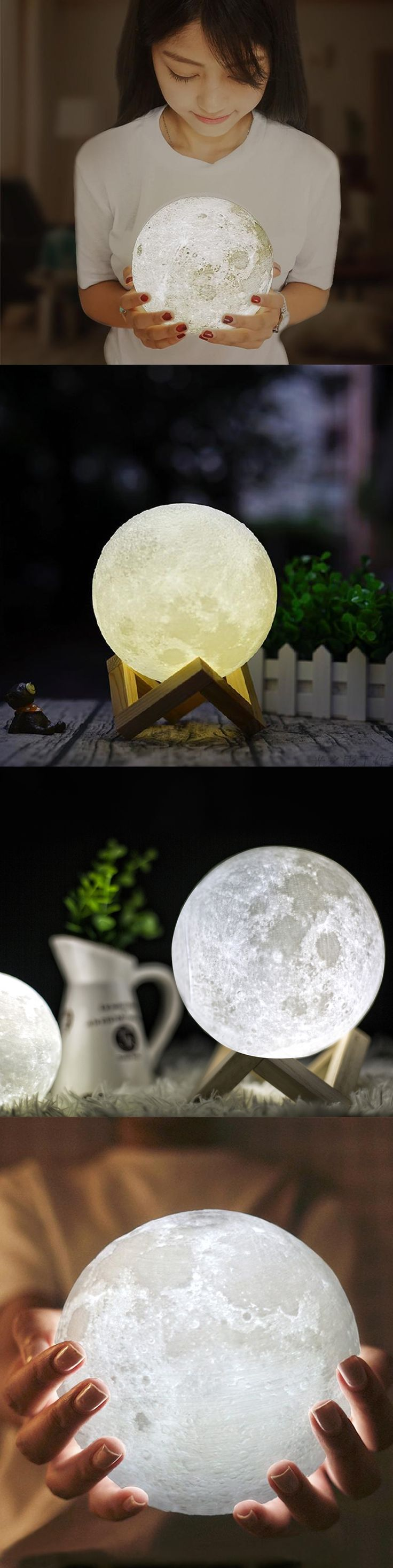 This AMAZING 3D printed Lunar Lamp with stand is a replica of NASA's moon surface photo's including rocks and craters.