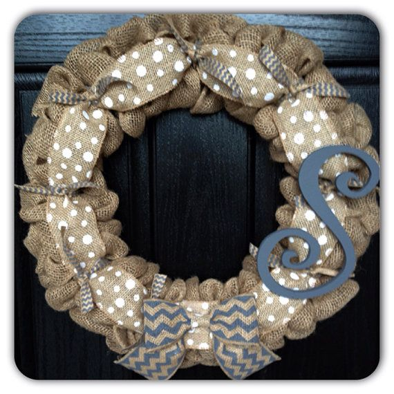 Chevron & Polka Dot Burlap Wreath with Initial- Front Door Wreath- Wedding Decoration- Wedding Gift- monogram wreath- Year Round Wreath on Etsy, $58.50