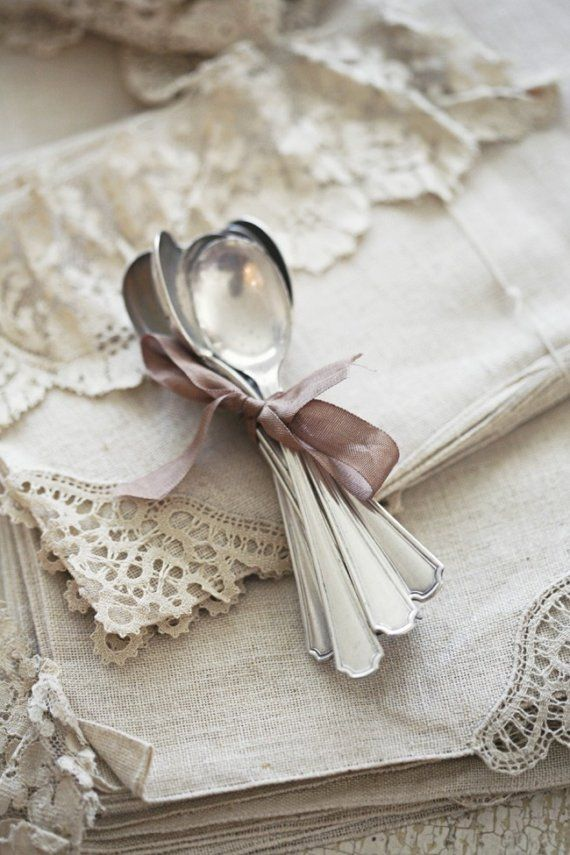 Lovely Silver Teaspoons with even lovelier Linen & Lace <3