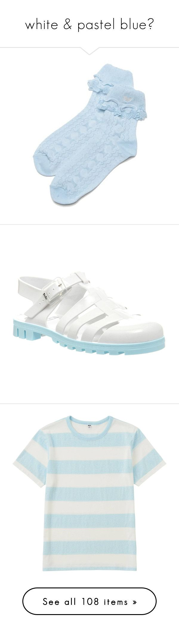 """""""white & pastel blue♥"""" by adolie ❤ liked on Polyvore featuring socks, shoes, sandals, white paloma, women, flat sandals, white shoes, white flat sandals, flat shoes and juju"""