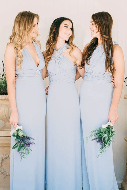 Dusty Blue Periwinkle Bridesmaid Dresses Flower To Match Colour Feature Bridesmaids And