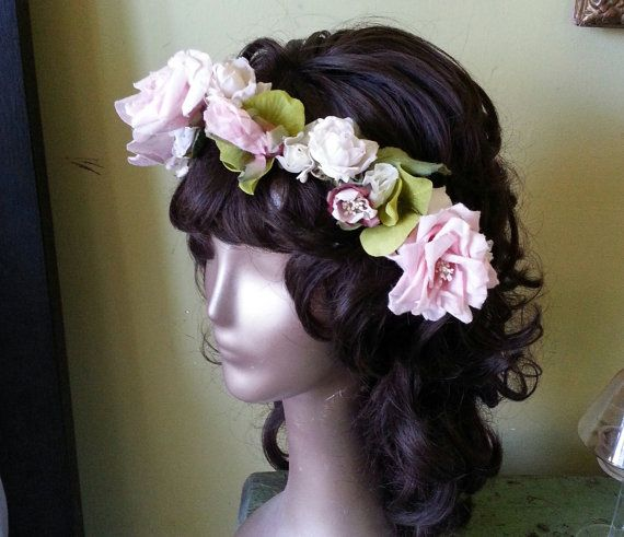 Pink floral bridal crown wreath headband by VintageBridalDesigns