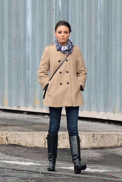 tan wool coat with skinny jeans, flat heeled knee-high boots
