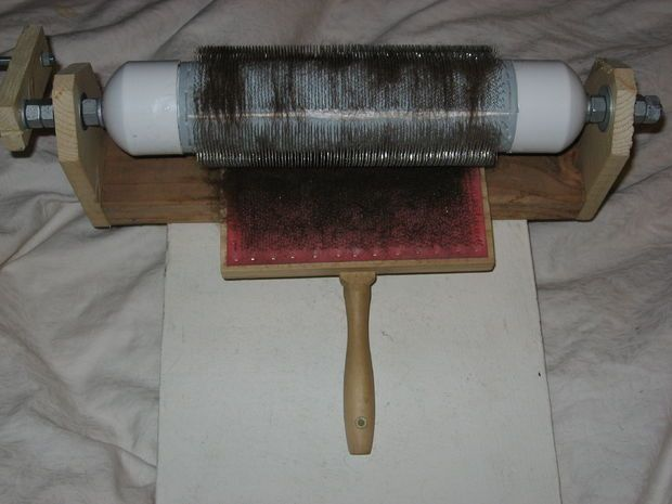 Picture of $50 Drum Carder to make myself!  (for combing fibers) http://www.instructables.com/id/Drum-Carder-for-spinning-wool-and-other-fibers/