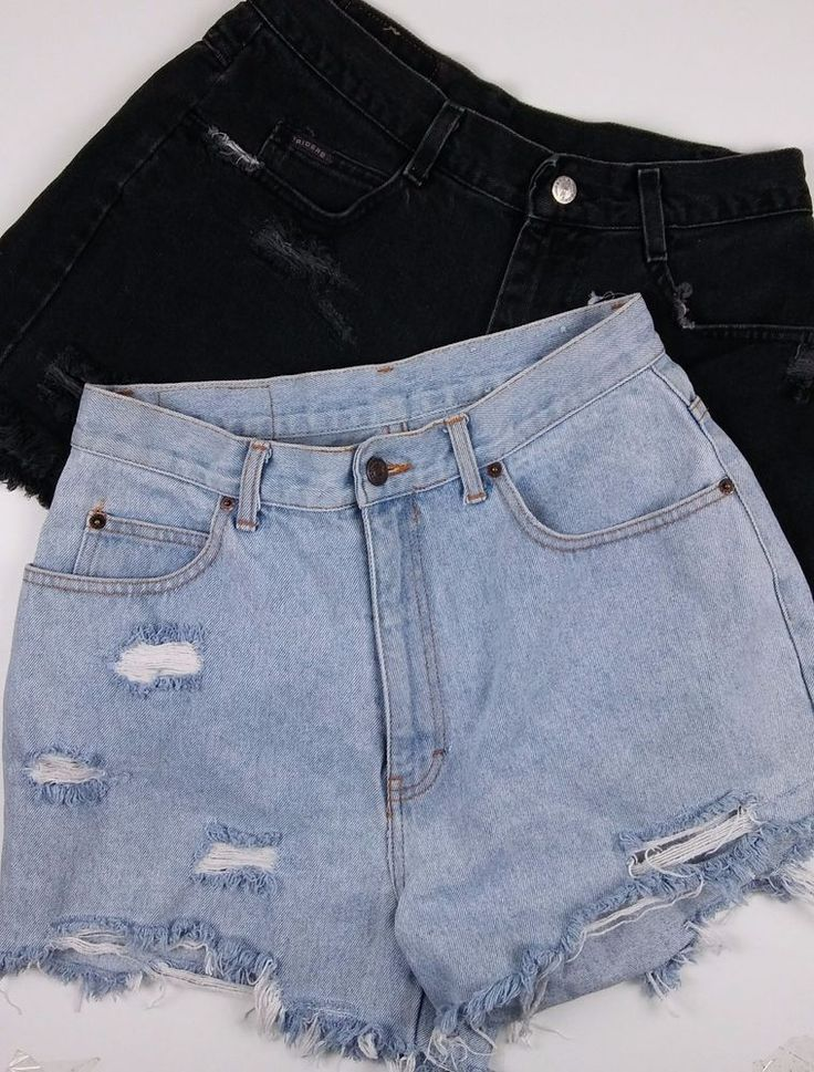 Lot of 2 Womens High Rise High Waisted Jean Shorts Cut Offs Homemade Distressed #HighRise #shortshorts #distresseddenim #momjeans #spring2017fashion #cutoffs #summerstyle #ebay #forsale #vintage #diystyle