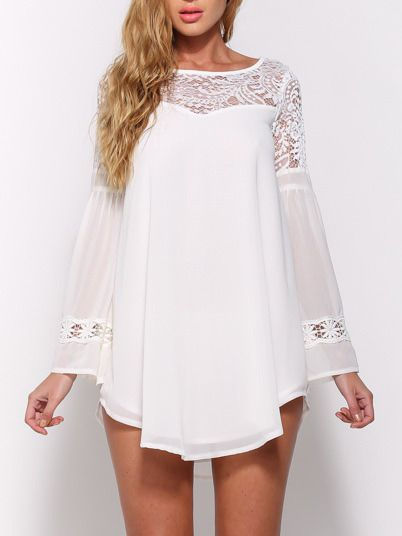 White Bell Sleeve Lace Insert Hollow Chiffon Top 16.00