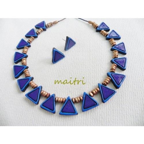 Terracotta Jewellery_Royal Blue Choker maitri_crafts@yahoo.com http://www.facebook.com/pages/Maitri/124757107652514