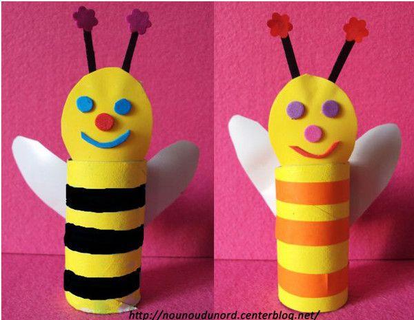 abeilles réalisées par Lilou et Liana les jumelles de 3 ans, avec des rouleaux de papier wc, explications sur mon blog http://nounoudunord.centerblog.net/608-abeilles-realisees-par-les-jumelles