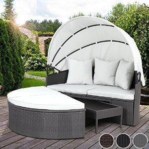 miadomodo polyrattan sun lounger with foldable roof cm day bed garden sofa patio terrace furniture grey by miadomodo 1 new from