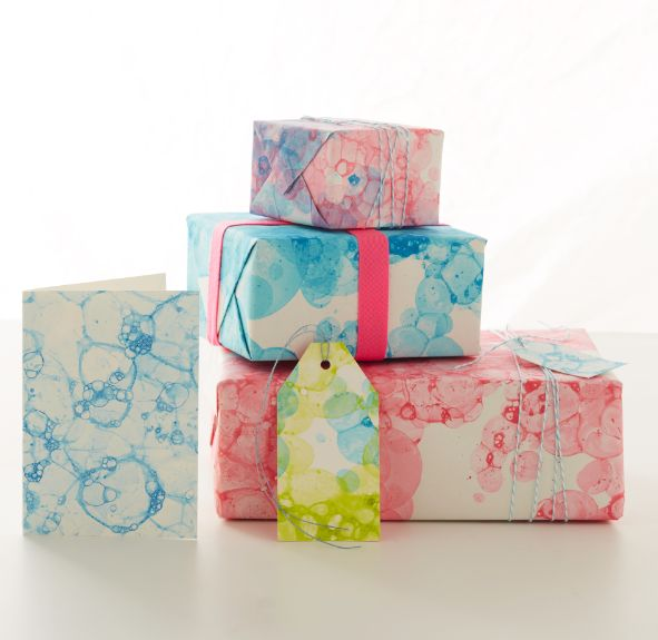 Create personalized bubble-print wrapping paper or art with tempera paint (or food coloring), bubble solution and some straws.