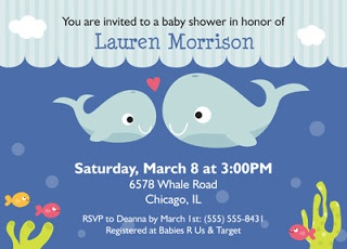 bunny prints whales and fish baby shower invitations