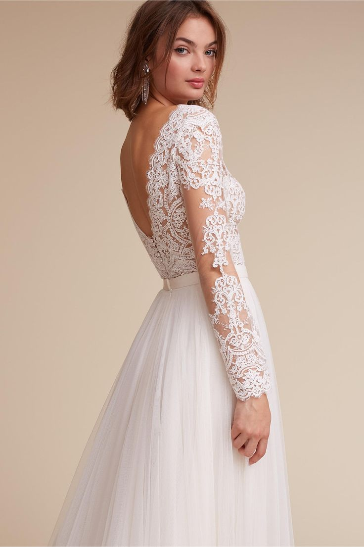 BHLDN Rhea Bodysuit & Amora Skirt in  Bride Wedding Dresses Sleeves | BHLDN