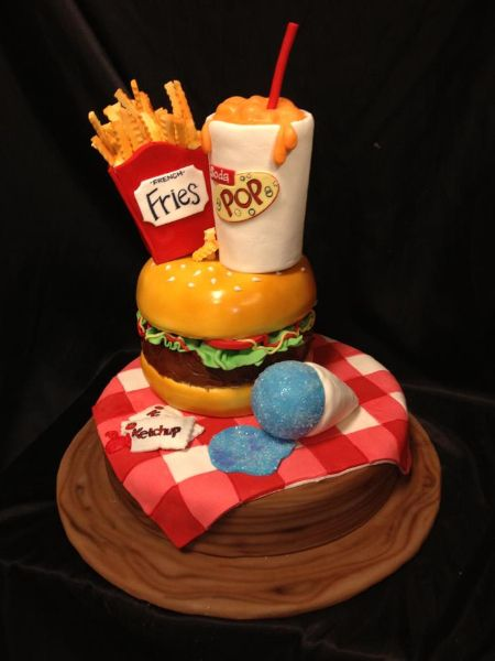 Summer Junk Food Cake with a hamburger, french fries, sno-cone and soda! #junkfood #cakesbydarcy #atlanta