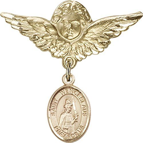 14kt Gold Filled Baby Badge with St Wenceslaus Charm and Angel wWings Badge Pin * Check out this great product.