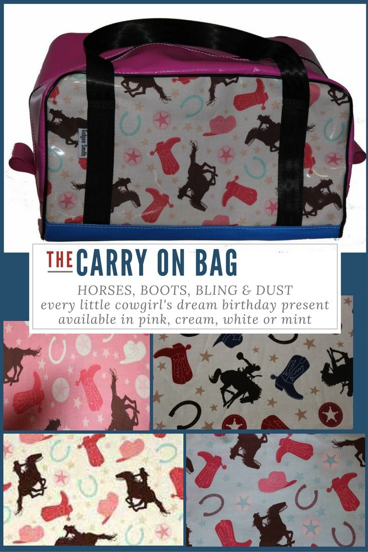 Cowgirl Carry On Bag girls gift idea for the little lady in your life! White Backed Cowgirl print shown here on our Carry On Bag - $99 - 45cmL x 23cmW x 25cmH Built to last using quality PVC, and seatbelt straps sewn into the base of the bag for the straps. Cowgirl print available with pink, mint, cream and white backings. Great Pony Club gift idea. 70+ fabrics to choose from and embroidery available for a more personalised gift!