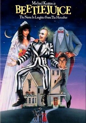 Beetlejuice (1988) A young couple who drowned return to their house as poltergeists but must enlist the help of a goofy ghost to put a scare in the rude new owners. Unfortunately, he's got a diabolical agenda of his own.  Alec Baldwin, Geena Davis, Michael Keaton...TS comedy