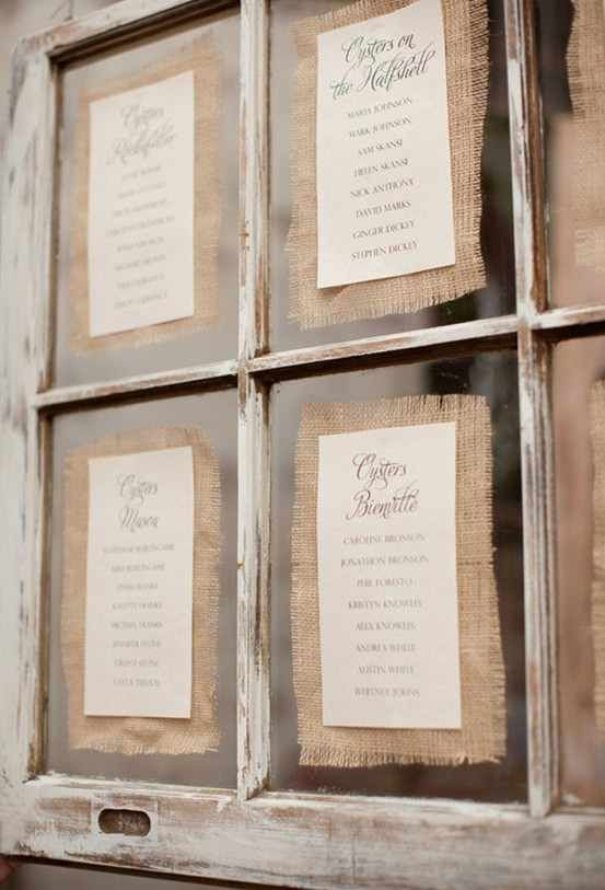 Love the burlap as a mat for pictures in an old window...would be great to display at wedding, etc.