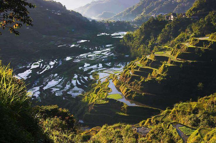 Las terrazas de arroz se agarran a las montañas circundantes a la localidad de Banaue, en el norte d... - Corbis. Texto: Redacción Traveler
