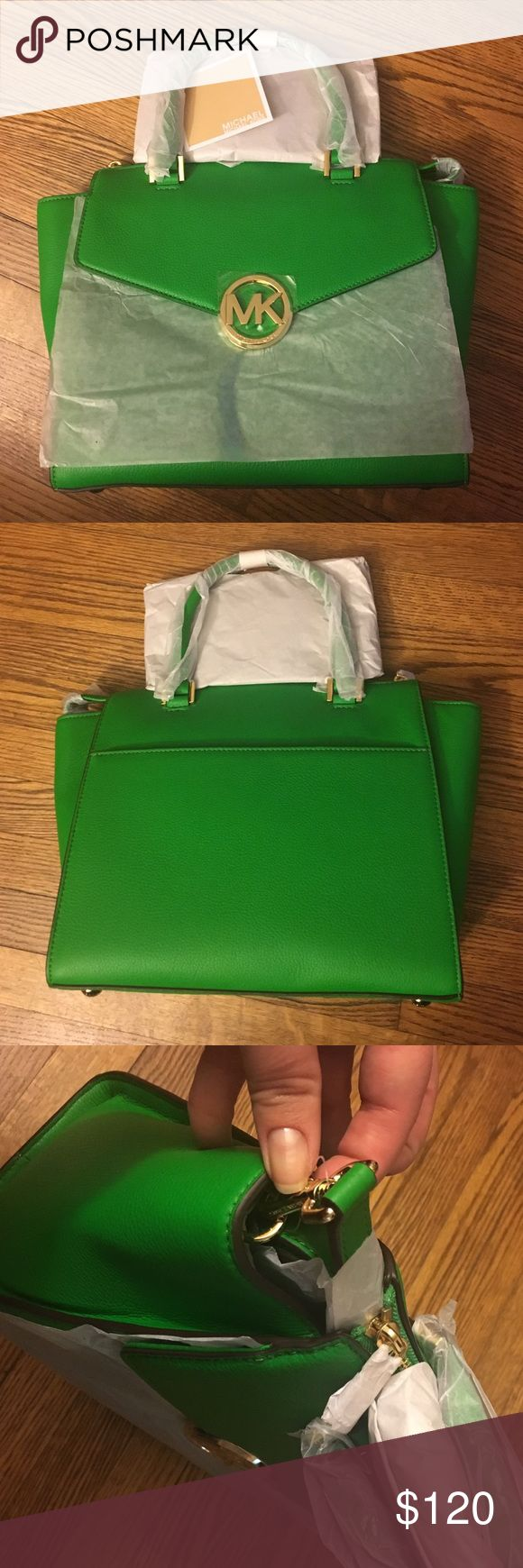 MK Handbag New MK leather handbag (color on tag: Palm) with paper packing still on the handbag. The third photo, tried to show that it has a removable, longer shoulder strap still wrapped inside the bag. Michael Kors Bags