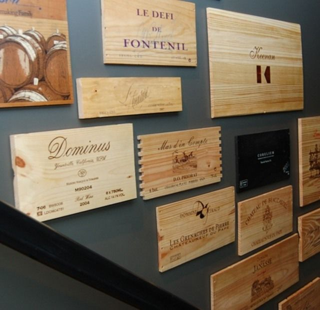 Parts of wine boxes as wall art