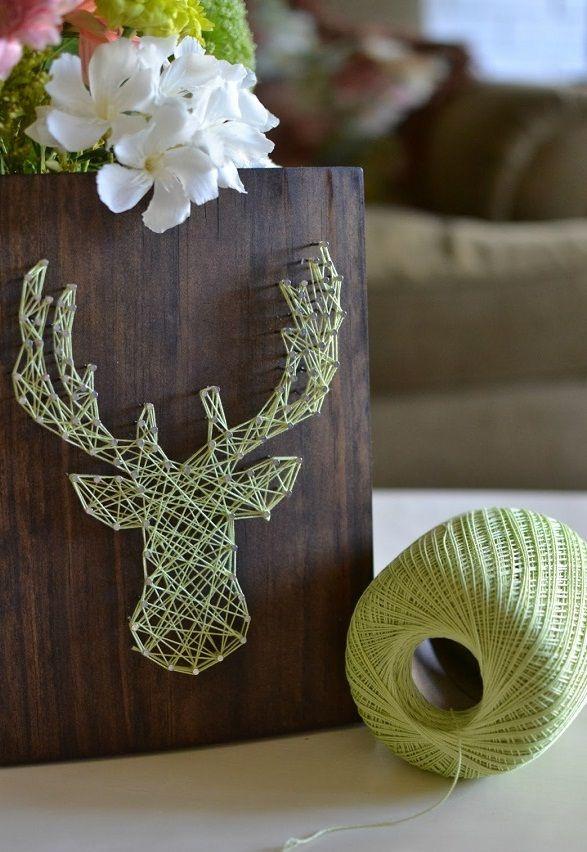 Decorative Wall Art Ideas in Simple Beautiful Motives: Elk Head String Art DIY ~ gnibo.com Ideas