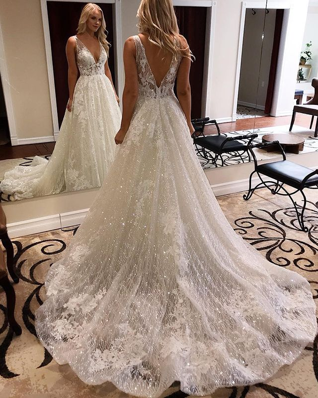 Elegant Appliqued A-line Deep V-neck Sparkle Wedding Dress