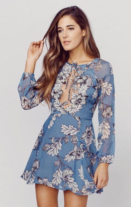 For Love & Lemons Sierra Mini Dress - Planet Blue